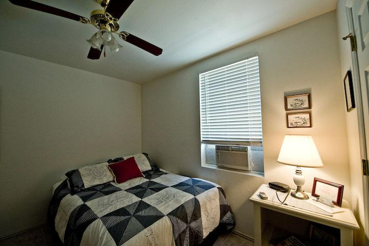 Double sized bed, AC, and satellite TV