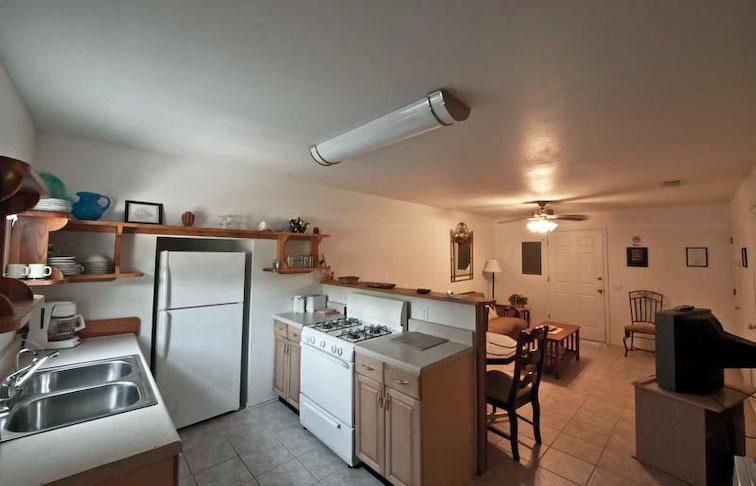 Full kitchen, fridge, oven, stove, freezer, dishes, etc