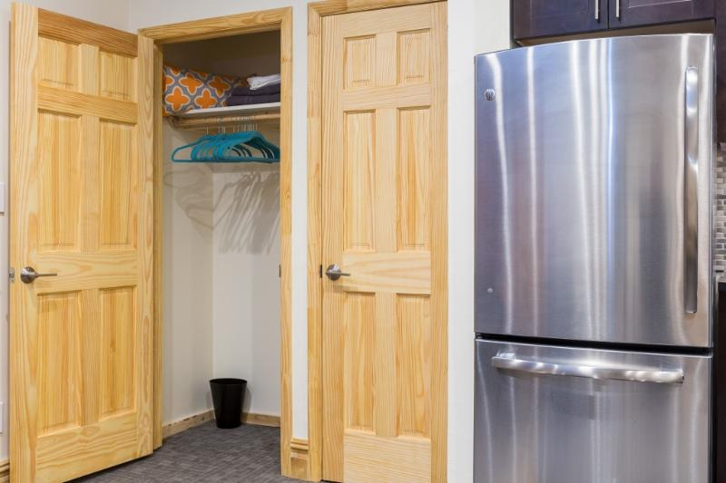 The apartment has excellent storage space with 4 built in closets throughout.
