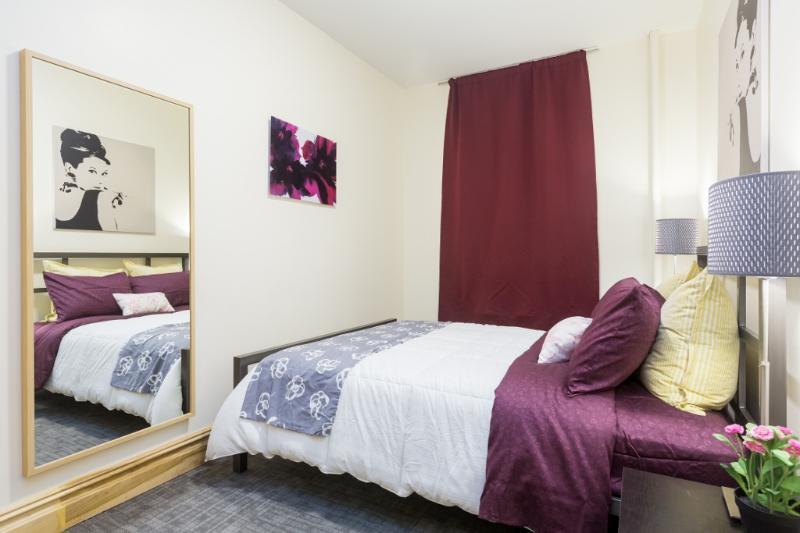 Bedroom 1: Master bedroom with queen size modern steel bed frame & full-length mirror