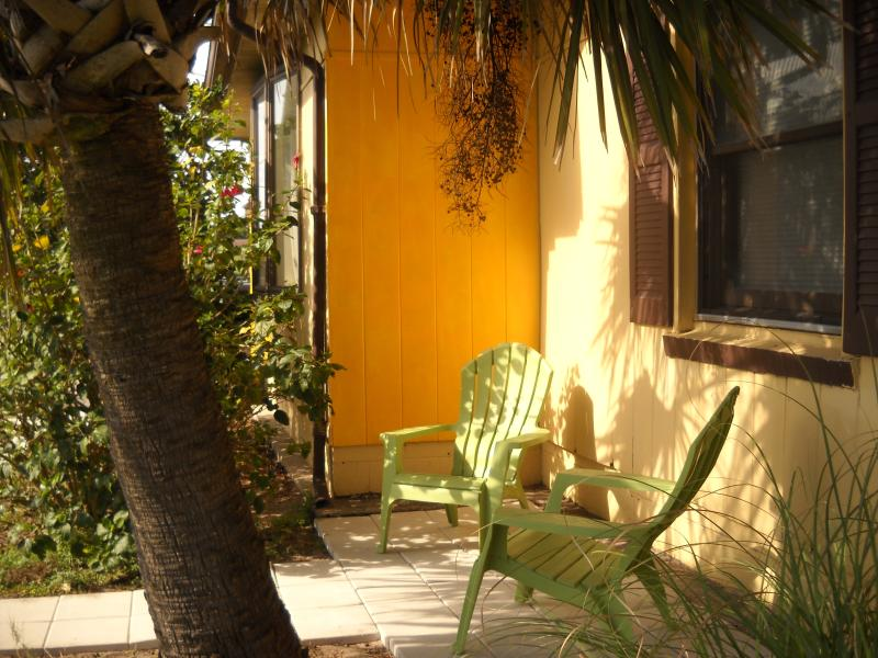 Sit outside for coffee or drinks in this little courtyard steps from the front door.