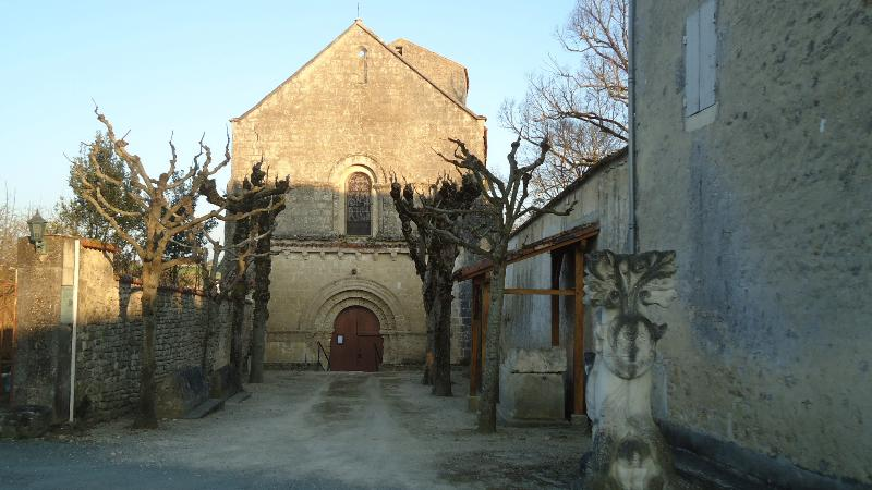 Front of historic Church in Lozay
