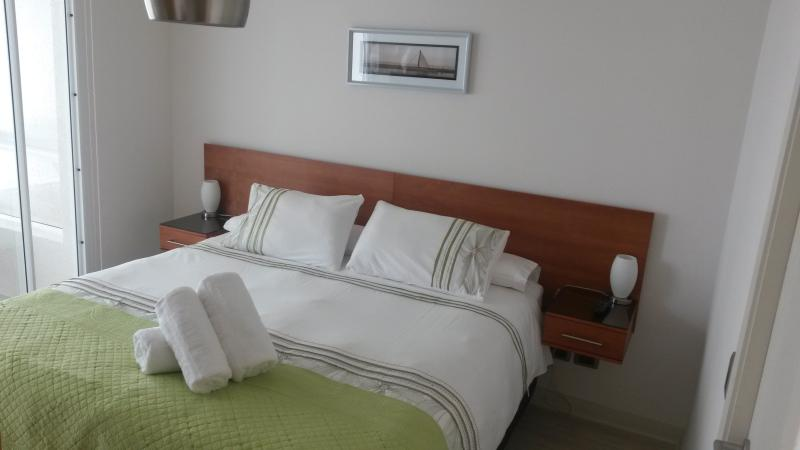 Very bright room with a king bed and blackout curtains to rest well