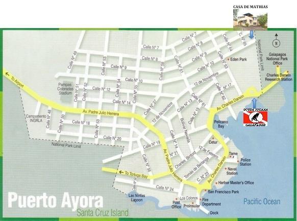 Carte de Puerto Ayora, Santa Cruz: la maison de Mathias et le centre de plongée Scuba Iguana.