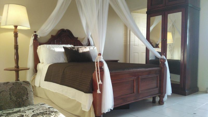 Relax in the beautiful hand crafted bed.