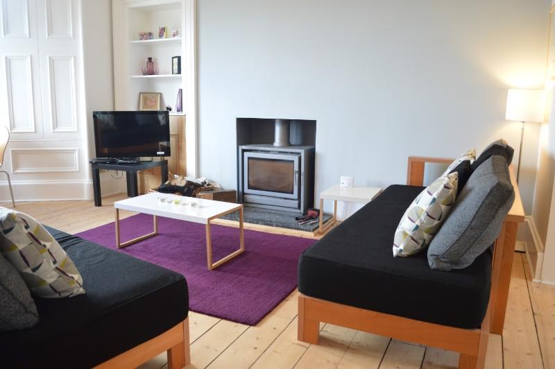 Elegante y acogedor salón con fuego de leña