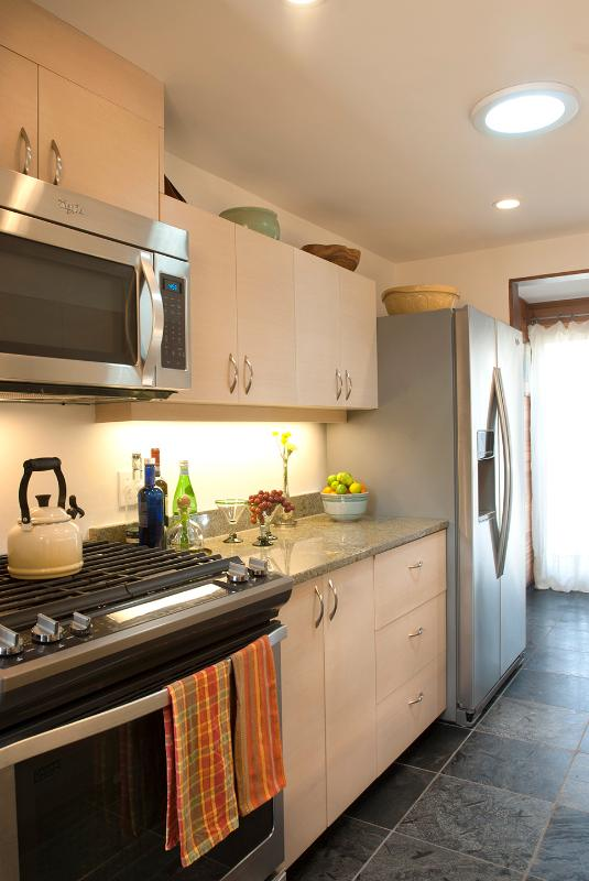 The kitchen has been totally remodeled and is fully equipped for cooking.