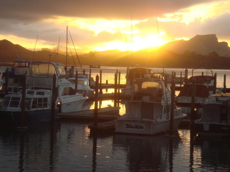 Sunset view over the Whangaroa Marina