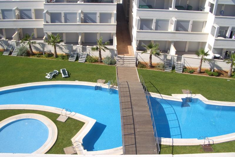 Pools viewed from apartment balcony