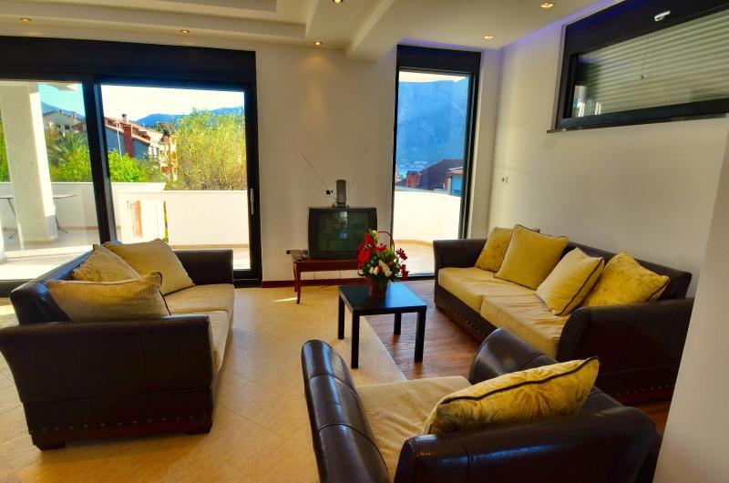 Living room with huge glass door