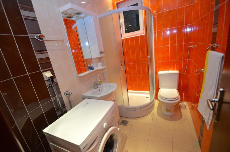 Shower room with washing machine