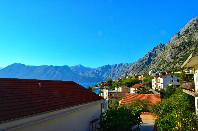 Sea and mountain view from small balcony