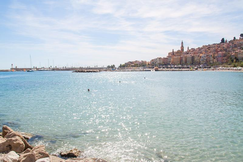 Beach and town of Menton