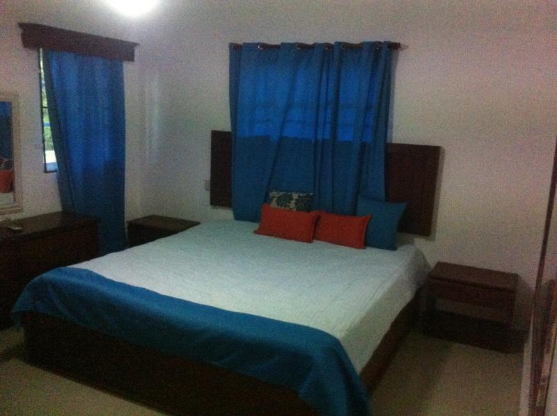 En-suite Master Bedroom with Air Conditioning and a king size bed.