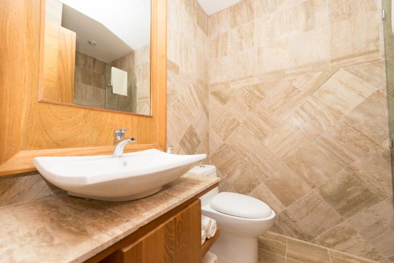 Marble and hardwood bathrooms.  3 and one half