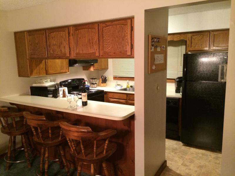 Large open fully stocked kitchen with all new appliances.