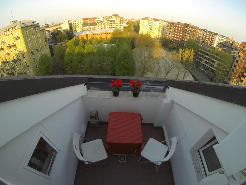 the terrace overlooking Milan