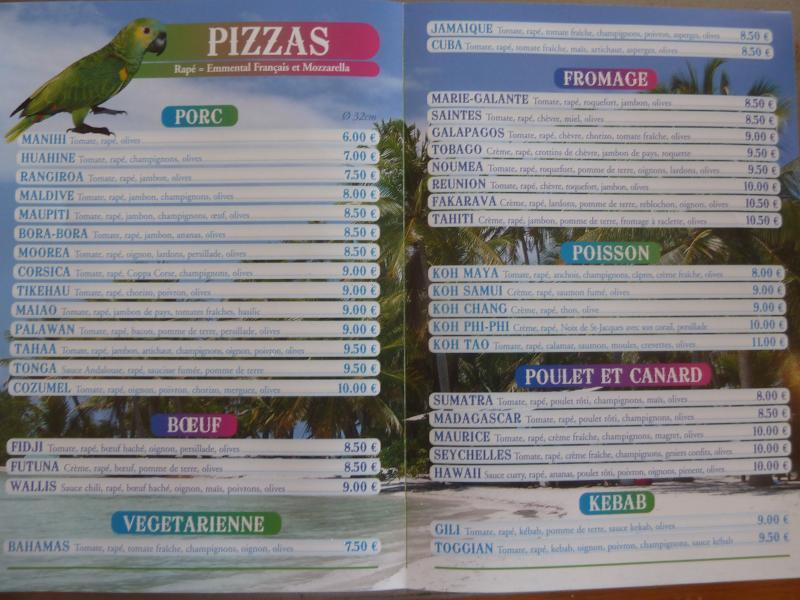 voici la carte si vous souhaitez commander à l'avance(retour au voyage avec les noms de pizza)