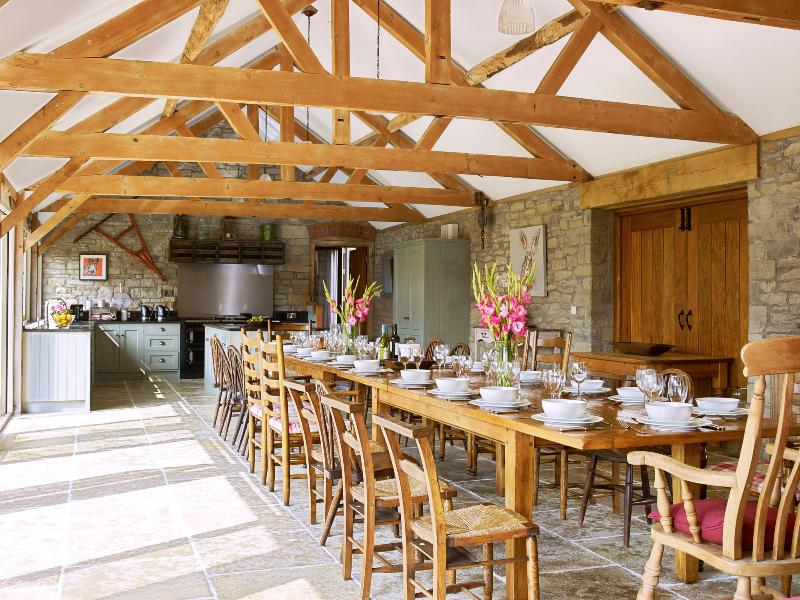 Eat together in the 65ft Mill Kitchen- we can arrange the tables for up to 30 to eat together