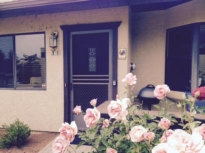 Enter the roost: year-round roses, front deck with bbq