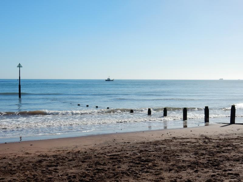 The beautiful red sands of Teignmouth Main Beach