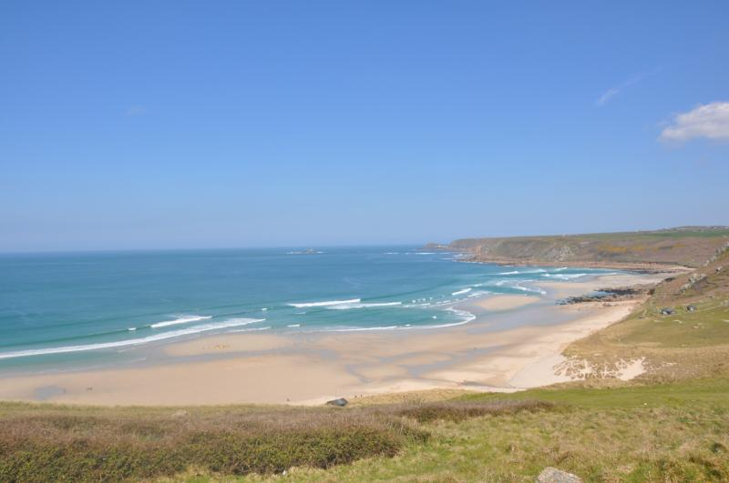 Glorious Sennen and Gwenver surfing beaches looking toward The Brisons