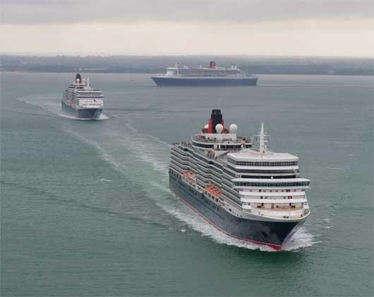 The 3 Queens, were watched from Cowes View as they sailed passed