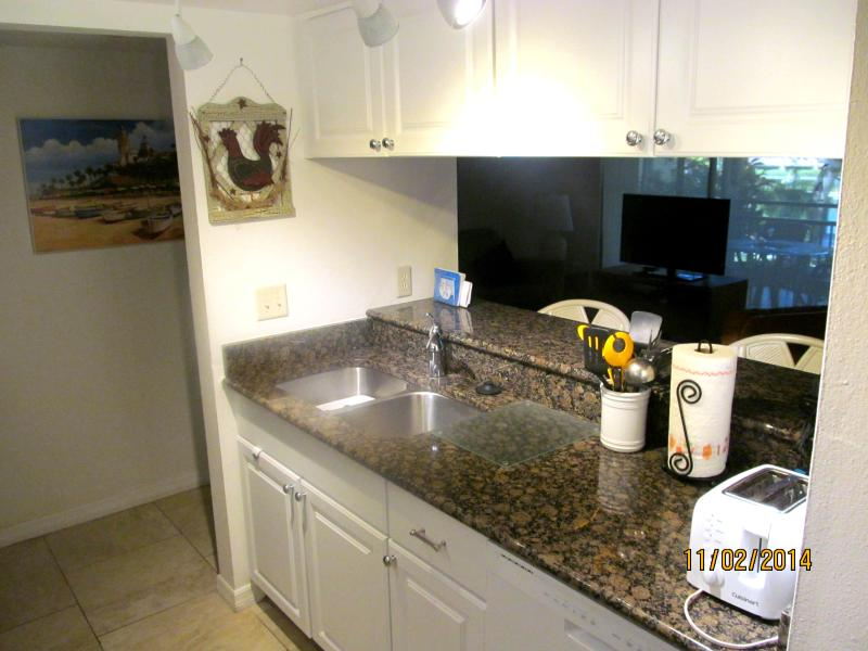 Newly remodeled kitchen with new cabinets, granite counter tops, dishwasher & microwave