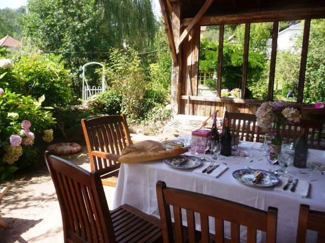 Return to Arfeuilles, to the Riverside Dining Arbour,  Relaxation, Good food and  wine!