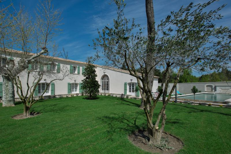 Panoramic view of the house with olive trees and grass in garden.