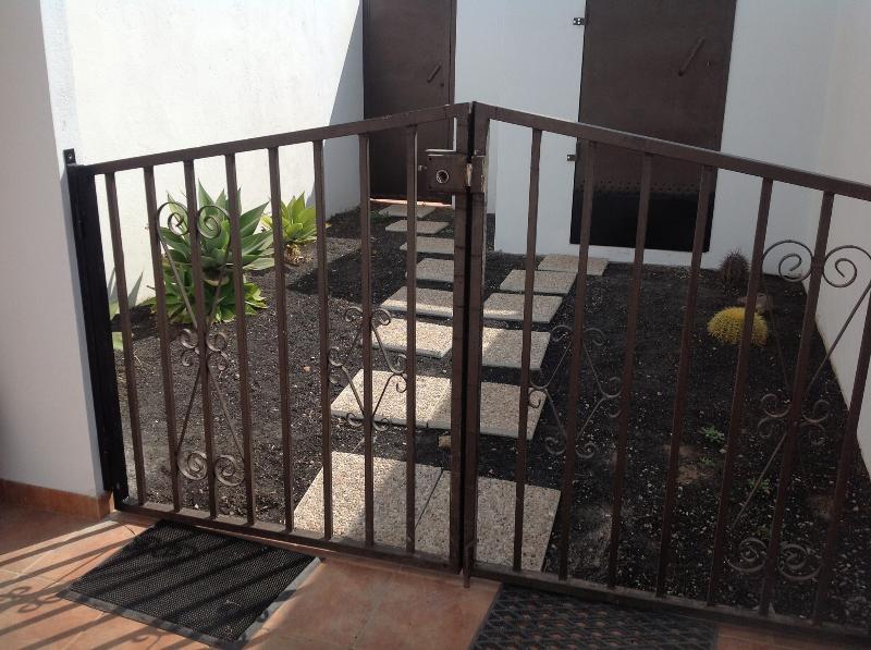 Rear garden with new gates.