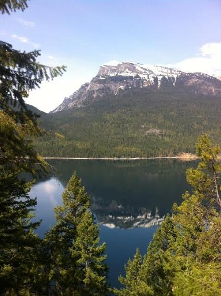 View of Mt. Nemo reflected in Slocan Lake, a short hike from property