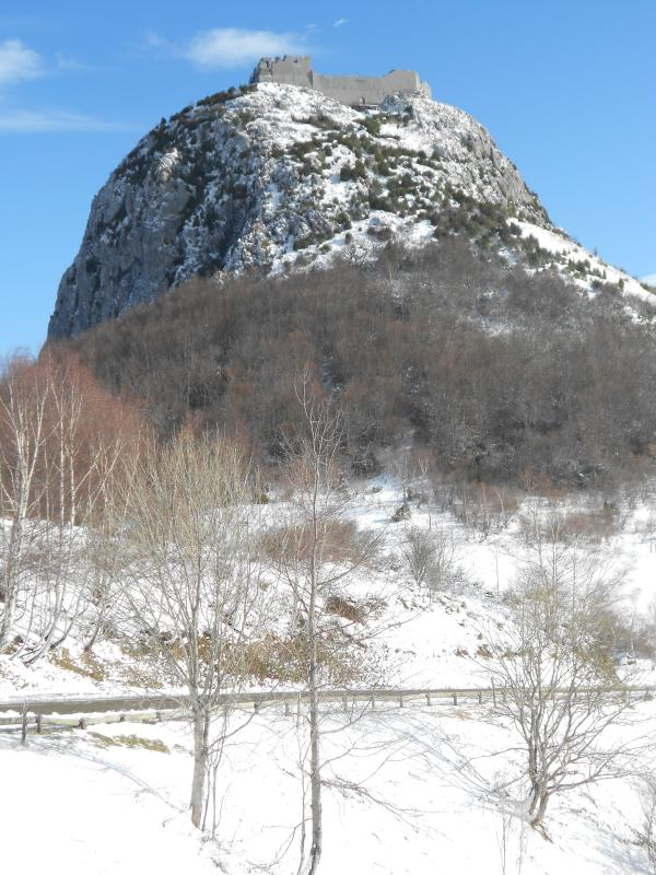 Montsegur is a Cathar castle and well worth the climb, especially in winter