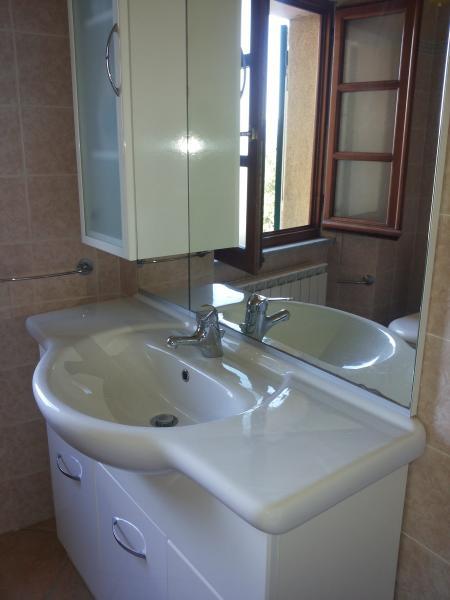 Nouvelle salle de bains avec douche. Dans la fenêtre, un splendide panorama sur les Alpes.