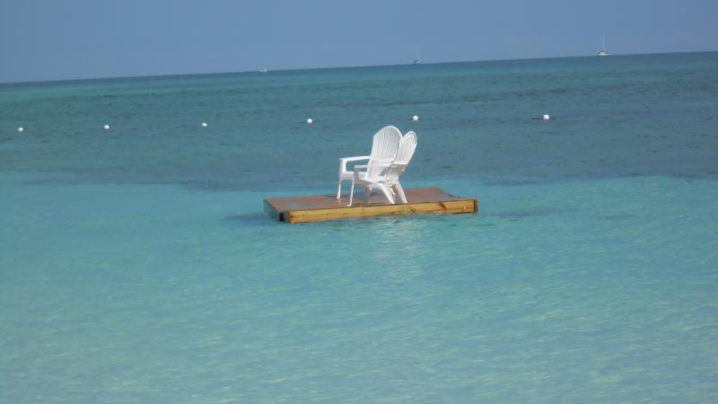 Taino beach ocean floating dock with restaurant, 5 min. walk from Villa.
