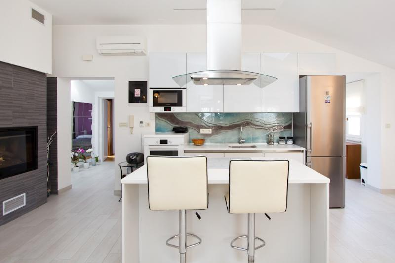 Kitchen and indoor fireplace