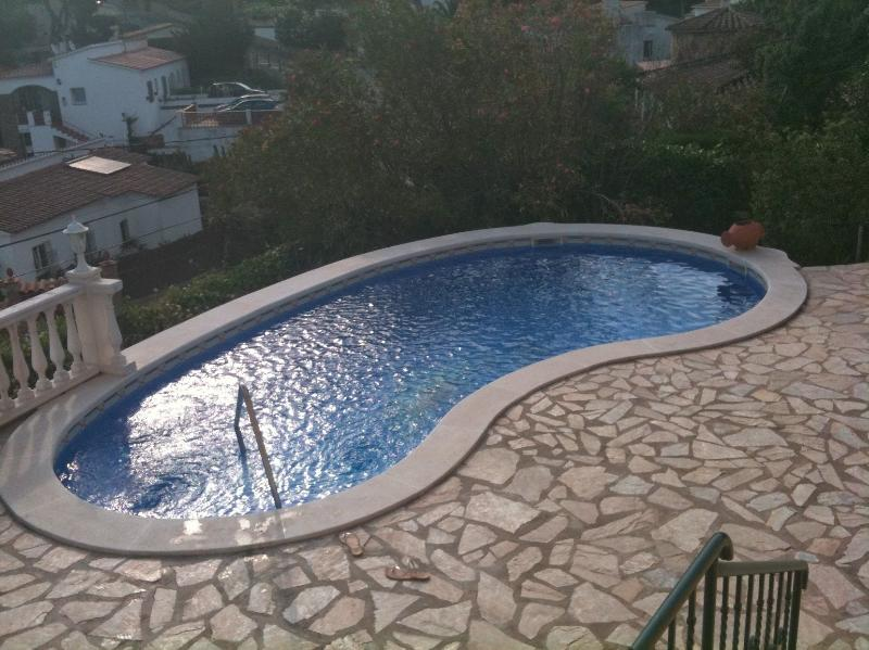 View of pool from tower