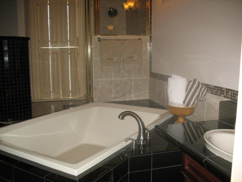 The largest bathroom has gas fireplace viewable from double whirlpool and large shower.