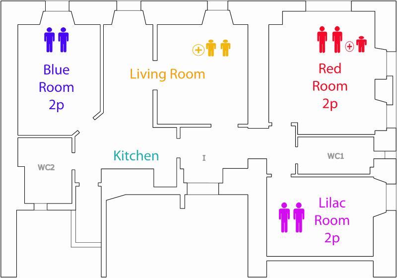 3 camere matrimoniali, 1 cucina, un salone doppio, due bagni, 6 posti letto, 3 letti aggiunti.