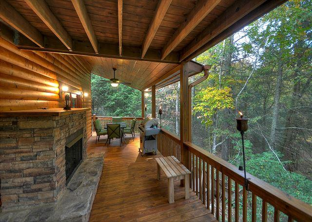 Deck with Gas Log Fireplace