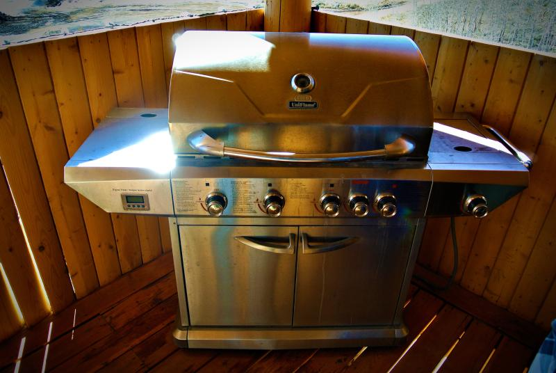 Your own private propane BBQ on the deck outside.