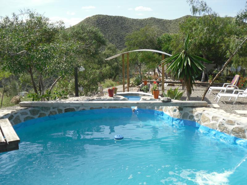 Our gorgeous natural stone pool in the gardens of our main Villa.