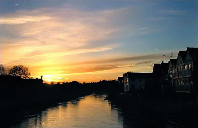 Arundel Sunset fom the Old Bridge with the River Arun at middle tide