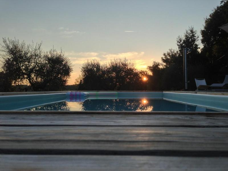 Sunset on the swimming pool