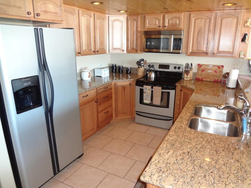 This fully equipped kitchen has every amenity and appliance you will need.  All cookware, utensils.