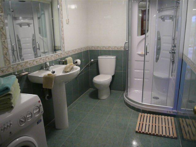 Bathroom with hydro massage shower and washing machine
