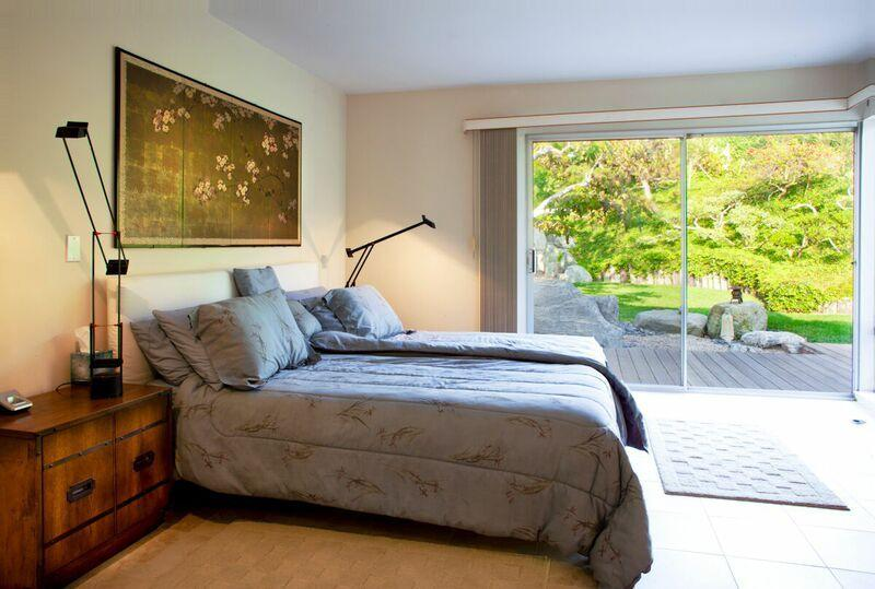 Master bedroom with view of the Japanese garden.