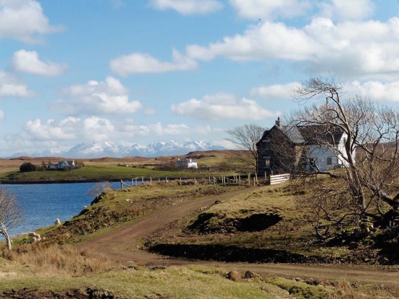 Access to the property with loch Dunvegan and the Cuillin mountains in the distance
