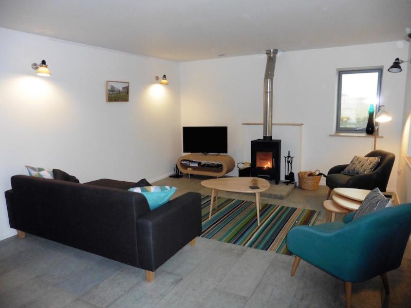 Sitting area with log burner and HD color TV