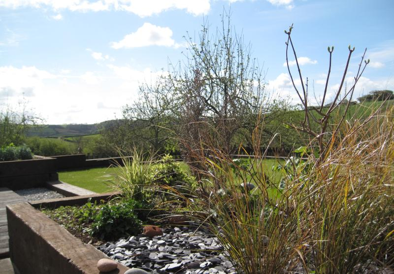 View from the terrace - it's a stunning open vally with the orchard surrounding the garden.